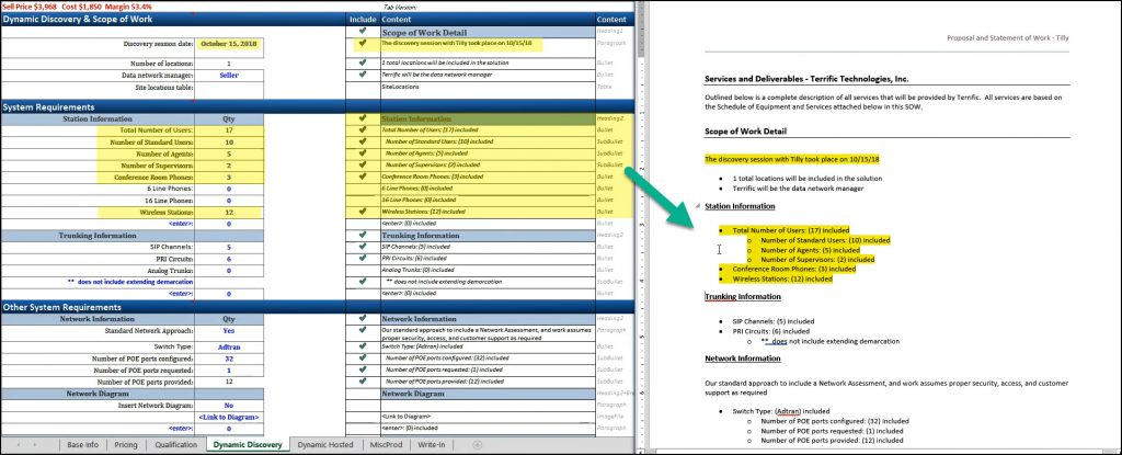 Screenshot of SDA Dynamic Content Creator functionality and Scope of Work output